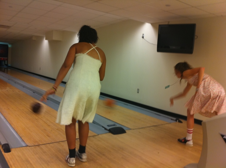 The White House Lanes; Alyssa and I in dresses