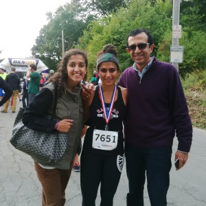 My sister Kanika, my dad and I at the finish line